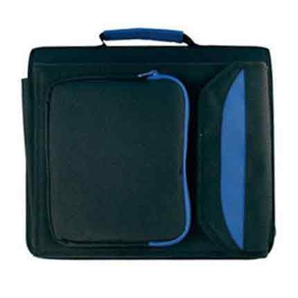 Сумка - папка для документов формата А4, черная с голубым