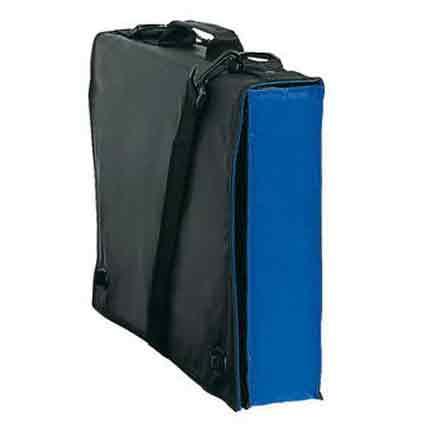Сумка для документов с ручкой и ремнем на плечо, черная с голубым