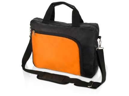 """Сумка для ноутбука """"Quick"""", 15,6 дюймов, цвет чёрный с оранжевым"""
