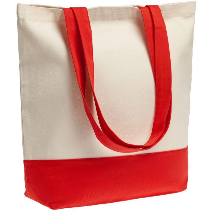 Холщовая сумка Shopaholic, цвет натуральный с красным