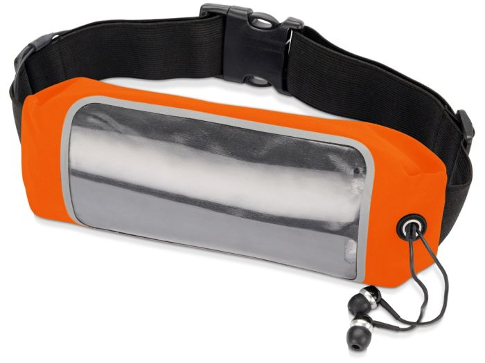 """Сумка на пояс """"Спринт"""", цвет оранжевый/чёрный/прозрачный"""