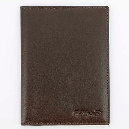 Обложка для паспорта S.Quire с отделением для визиток, из гладкой кожи, цвет коричневый
