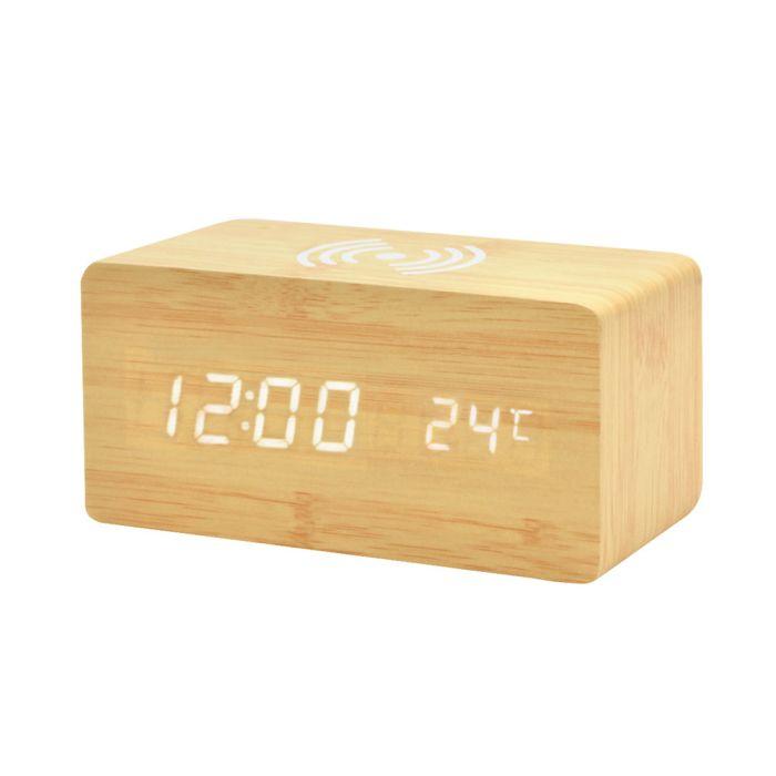 Многофункциональные часы - погодная станция с беспроводной зарядкой - Бежевый BG