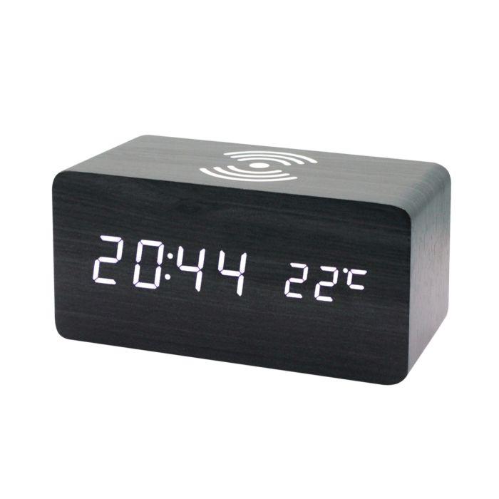 Многофункциональные часы - погодная станция с беспроводной зарядкой - Черный AA