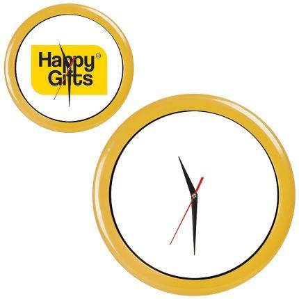 """Часы настенные """"ПРОМО"""" разборные, D=28,5 см, пластик/стекло, цвет обода желтый"""