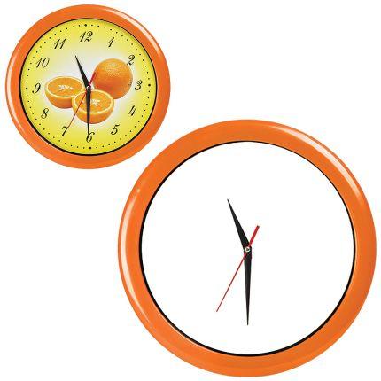"""Часы настенные """"ПРОМО"""" разборные, D=28,5 см, пластик/стекло, цвет обода оранжевый"""