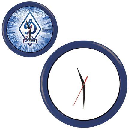 """Часы настенные """"ПРОМО"""" разборные, D=28,5 см, пластик/стекло, цвет обода синий"""