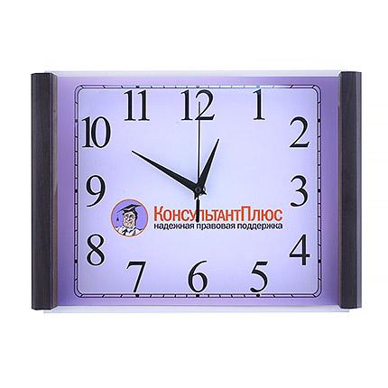 Настенные часы с логотипом, размер 25х35 см, деревянный корпус цвета венге