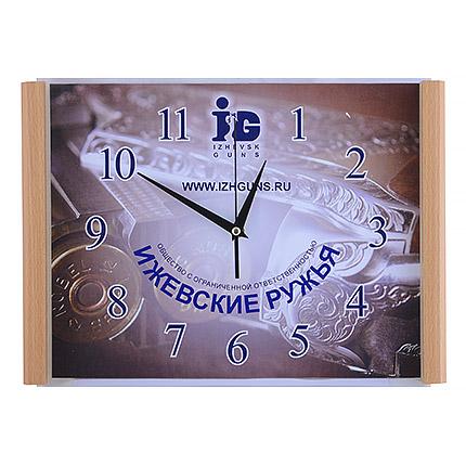 Настенные часы с логотипом, размер 28,5х40, деревянный корпус цвета бук