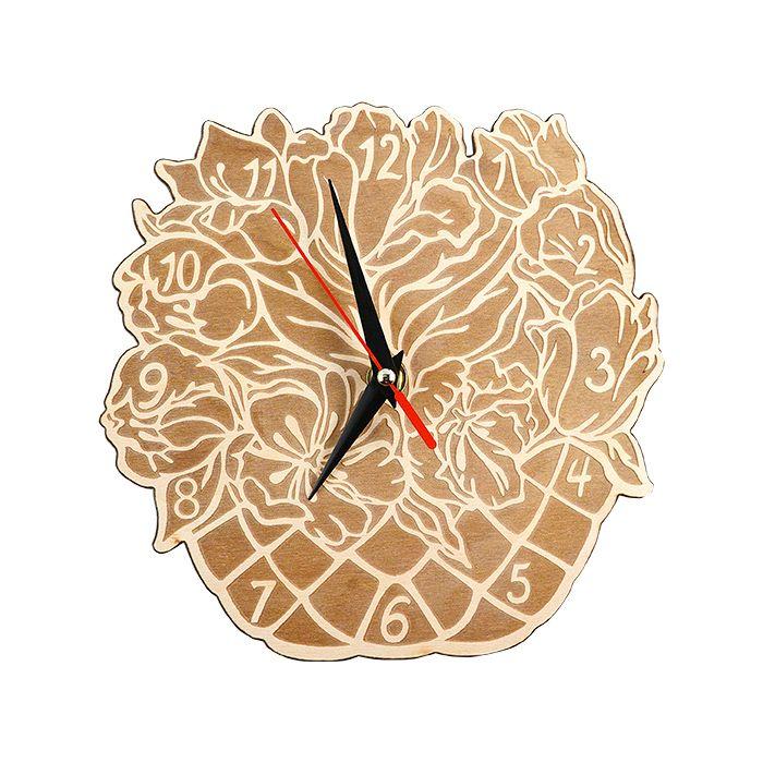 """Набор для раскрашивания: часы настенные деревянные """"Корзина с цветами"""" с красками и кисточкой, вариант 1"""