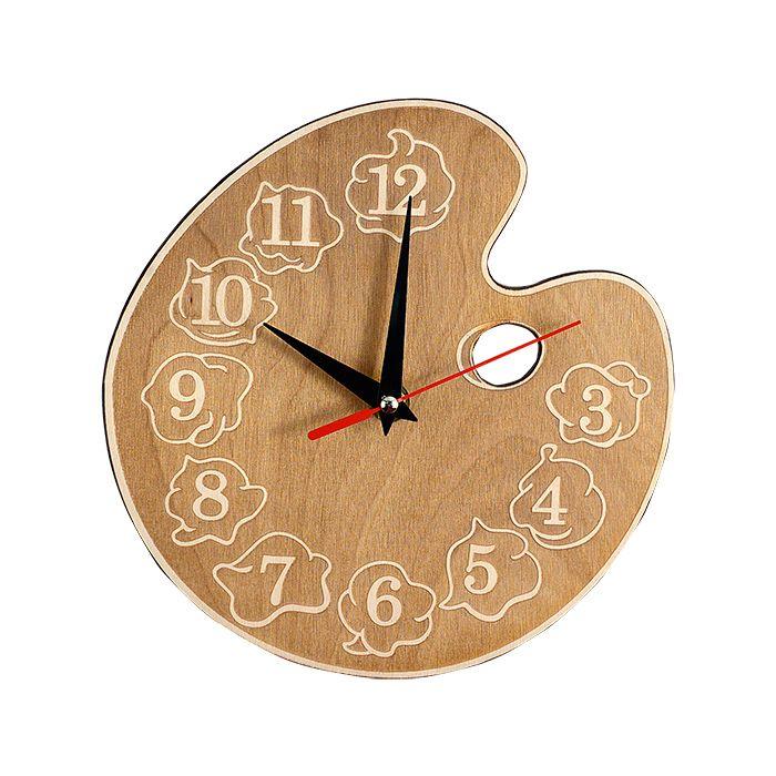 """Набор для раскрашивания: часы настенные деревянные """"Палитра"""" с красками и кисточкой, вариант 1"""