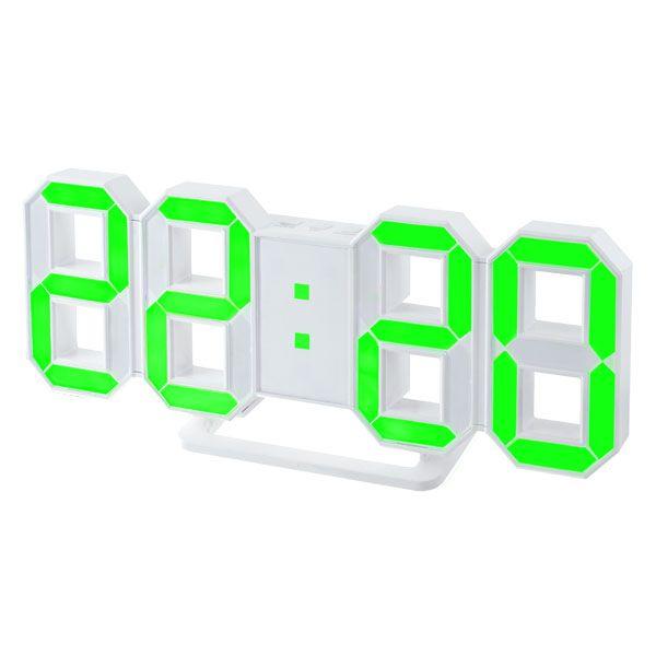 "Perfeo LED часы-будильник ""LUMINOUS"", белый корпус / зелёная подсветка PF-663"