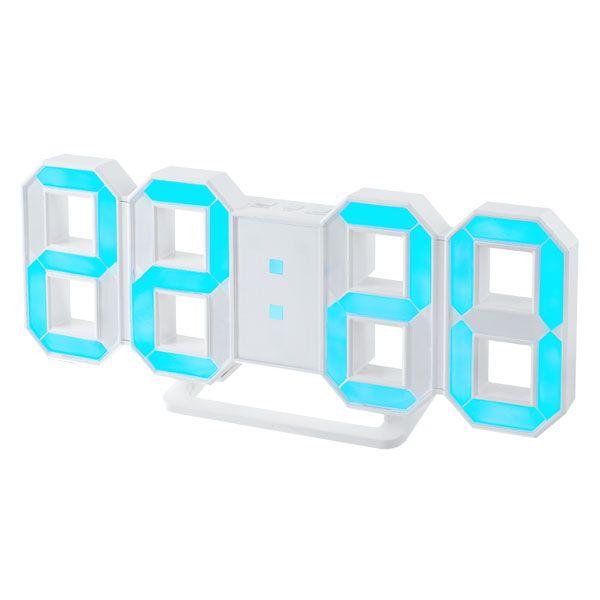 "Perfeo LED часы-будильник ""LUMINOUS"", белый корпус / синяя подсветка PF-663"