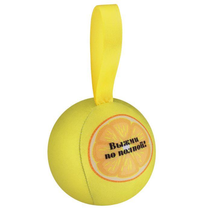 """Шарик-антистресс с пожеланием """"Лимон"""", диаметр 9 см, жёлтый"""