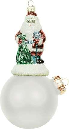"""Украшение """"Дед Мороз на шаре"""", высота 15 см, диаметр 8 см, цвет серебряный матовый"""