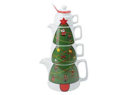"Набор ""Новогоднее чаепитие"": чайник на 800 мл, чашка на 300 мл, сахарница, сливочник, ложка"