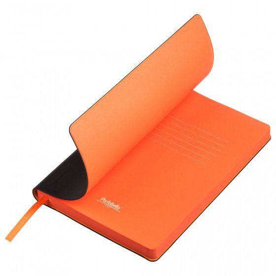 Ежедневник недатированный, Portobello Trend, Latte NEW, формат A5, чёрный с оранжевым