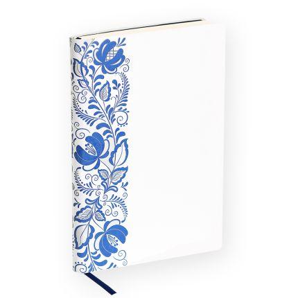 Ежедневник недатированный, Portobello Trend, коллекция Russia, формат A5, цвет белый с синим орнаментом