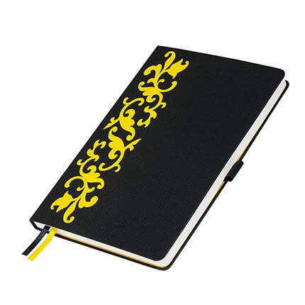 Ежедневник недатированный, Portobello Trend, коллекция Русские Узоры, формат A5, цвет чёрный с жёлтым орнаментом