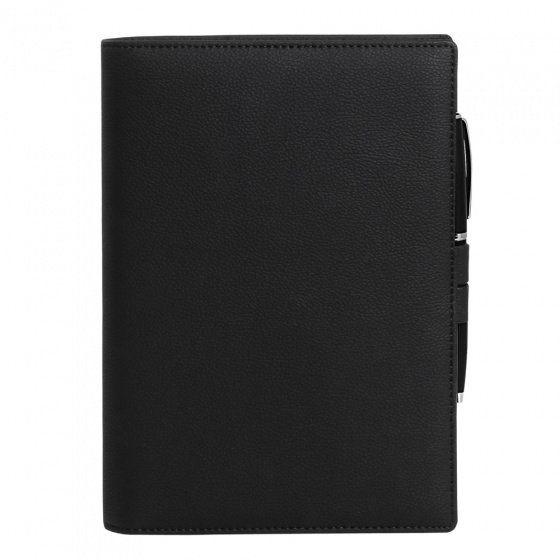 Ежедневник-портфолио недатированный Portobello, коллекция Clip, А5, чёрный, с ручкой Opera (чёрный/хром)