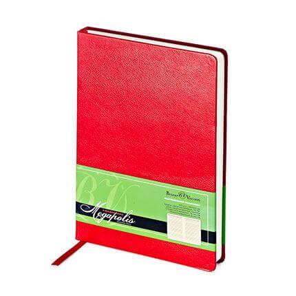 Ежедневник недатированный MEGAPOLIS (АР), формат A5, бежевая бумага, цвет красный