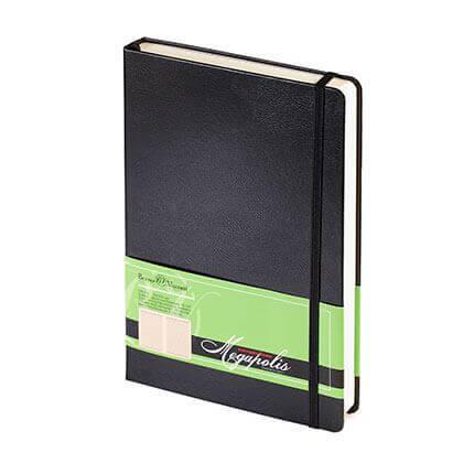Ежедневник полудатированный MEGAPOLIS (АР), формат A5, бежевая бумага, с резинкой, цвет черный