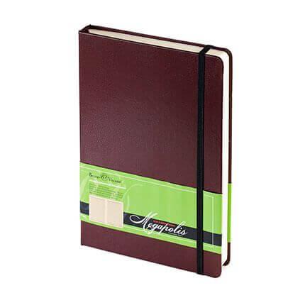 Ежедневник полудатированный MEGAPOLIS (АР), формат A5, бежевая бумага, с резинкой, цвет коричневый