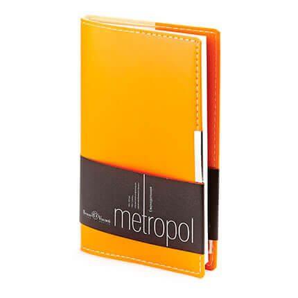 Еженедельник недатированный METROPOL (АР), формат A6, бежевая бумага, цвет оранжевый