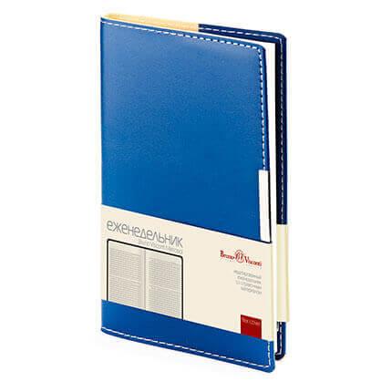 Еженедельник недатированный METROPOL (АР), формат A6, бежевая бумага, цвет синий