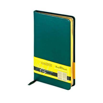 Еженедельник недатированный CITY (АР), формат A6, обрез золото, бежевая бумага, цвет зеленый