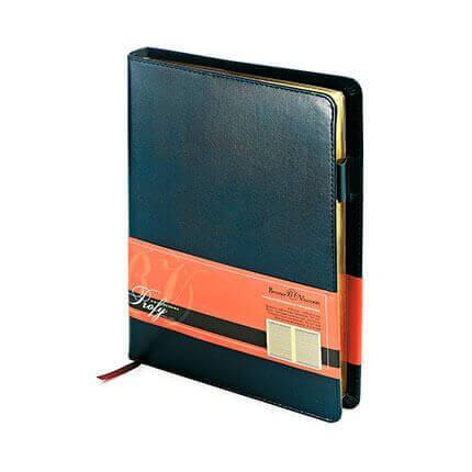 Ежедневник полудатированный PROFY (АР), формат A5, обрез золото, бежевая бумага, цвет синий