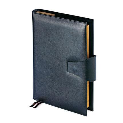 Папка с кольцевым зажимом и блокнотом с застёжкой WINDSOR (АР), формат A4, гладкая кожа, цвет черный