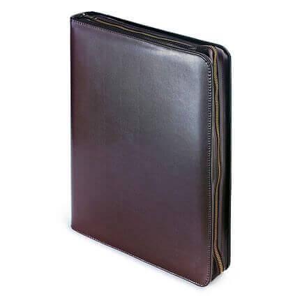 Папка с кольцевым зажимом и блокнотом на молнии BOSFORO (АР), формат A4, гладкая кожа, цвет коричневый