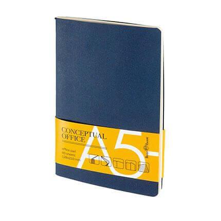 Блокнот CONCEPTUAL OFFICE, формат A5- с карманом, бежевая бумага в клетку, цвет синий