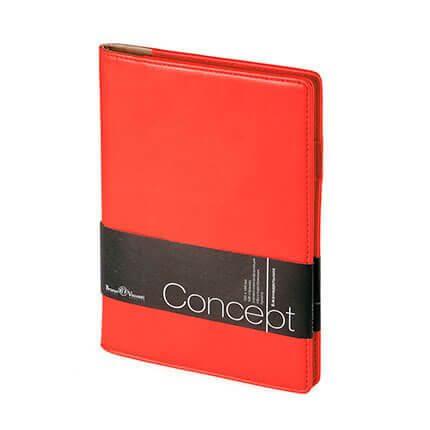 Еженедельник недатированный CONCEPT, с покрытием SOFT TOUCH, формат А5, бежевая бумага, цвет красный