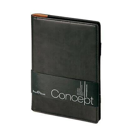 Еженедельник недатированный CONCEPT, формат А5, бежевая бумага, цвет черный