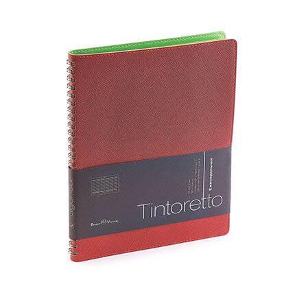 Еженедельник недатированный TINTORETTO, формат B5, обрез салатовый, бежевая бумага, цвет бордовый
