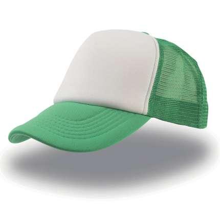 """Бейсболка """"Rapper"""", 5 клиньев, цвет белый с зелёным"""