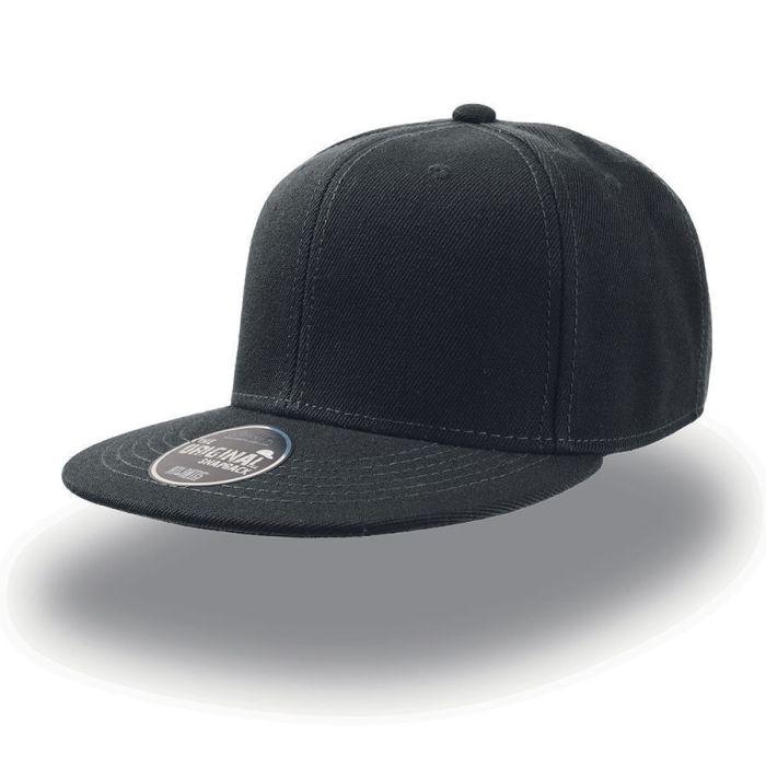 """Бейсболка """"SNAP BACK"""" 6 клиньев, плоский козырек, пластиковая застежка пвх, цвет чёрный"""