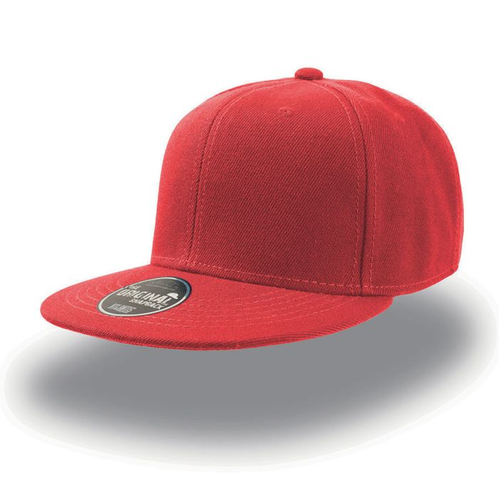 """Бейсболка """"SNAP BACK"""" 6 клиньев, плоский козырек, пластиковая застежка пвх, цвет красный"""