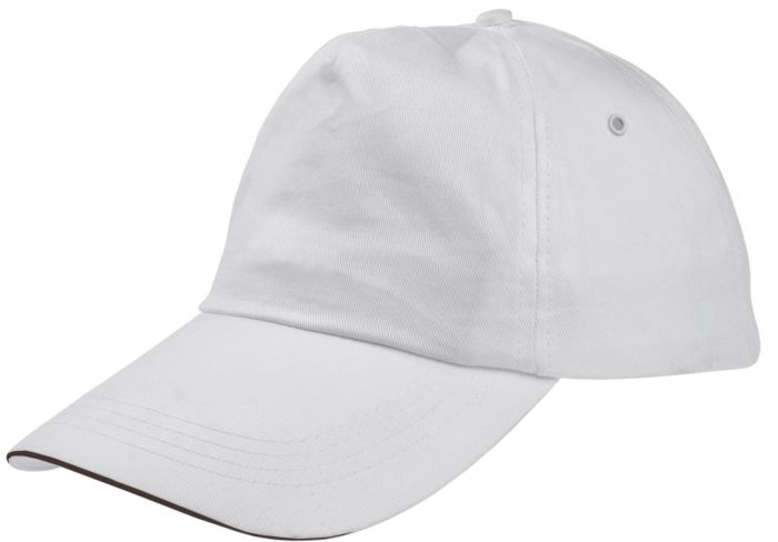 Бейсболка Unit Classic, белая с черным кантом