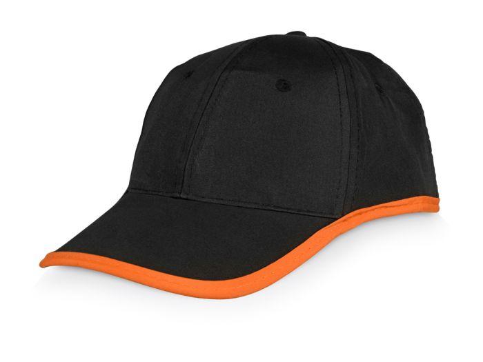 """Бейсболка """"Solo"""", чёрная с оранжевой окантовкой"""