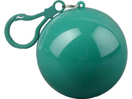 """Дождевик """"Универсал"""" прозрачный, цвет футляра в форме шара с карабином зелёный"""
