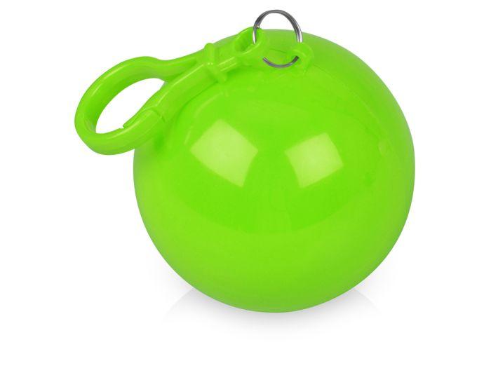 """Дождевик """"Универсал"""" прозрачный, цвет футляра в форме шара с карабином зелёное яблоко"""