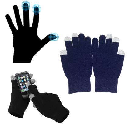 Перчатки для сенсорных экранов, однотонные, синие