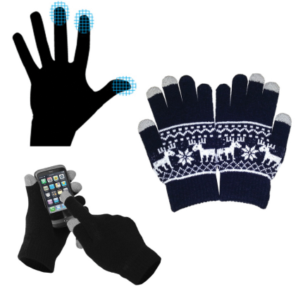 Перчатки для сенсорных экранов, с орнаментом, синие