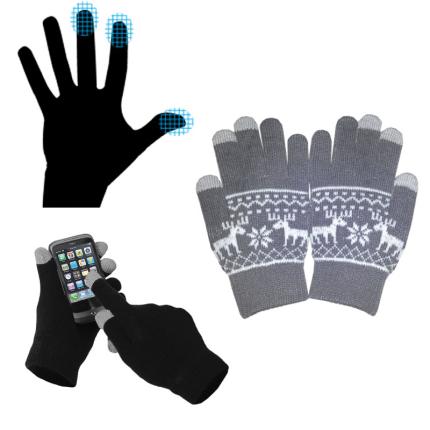 Перчатки для сенсорных экранов, с орнаментом, серые