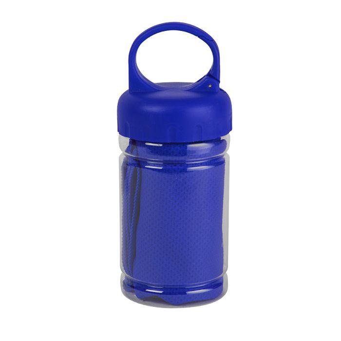 Полотенце спортивное в пластиковом боксе с карабином ACTIVE, синее