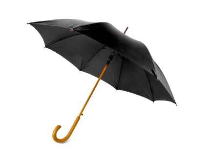 """Зонт-трость """"Радуга"""" полуавтомат с деревянной ручкой, чёрный"""