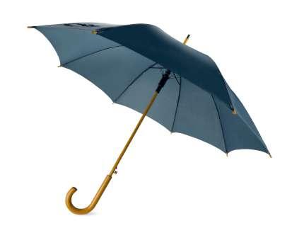 """Зонт-трость """"Радуга"""" полуавтомат с деревянной ручкой, тёмно-синий 287С"""